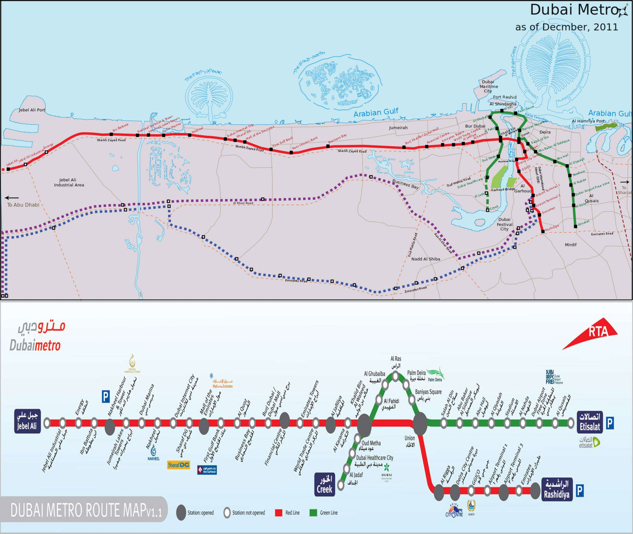 Dubai-Metro-Route-Map - Beautiful Global