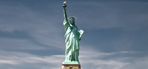 Statue Of Liberty Island In New York Harbor United States