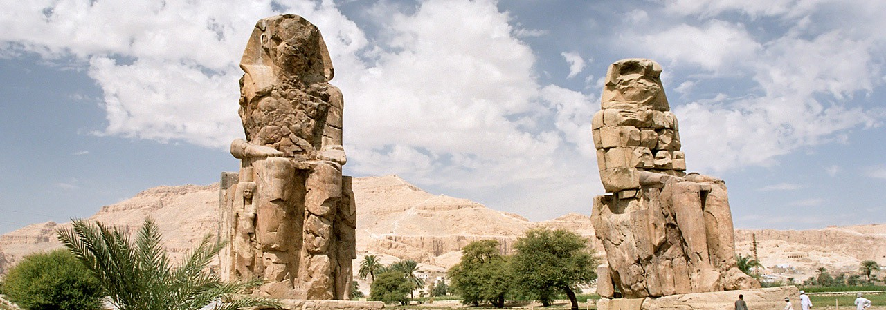 Colossi of Memnon 8 -  Two Stone Statues - Pharaoh Amenhotep III - Theban necropolis